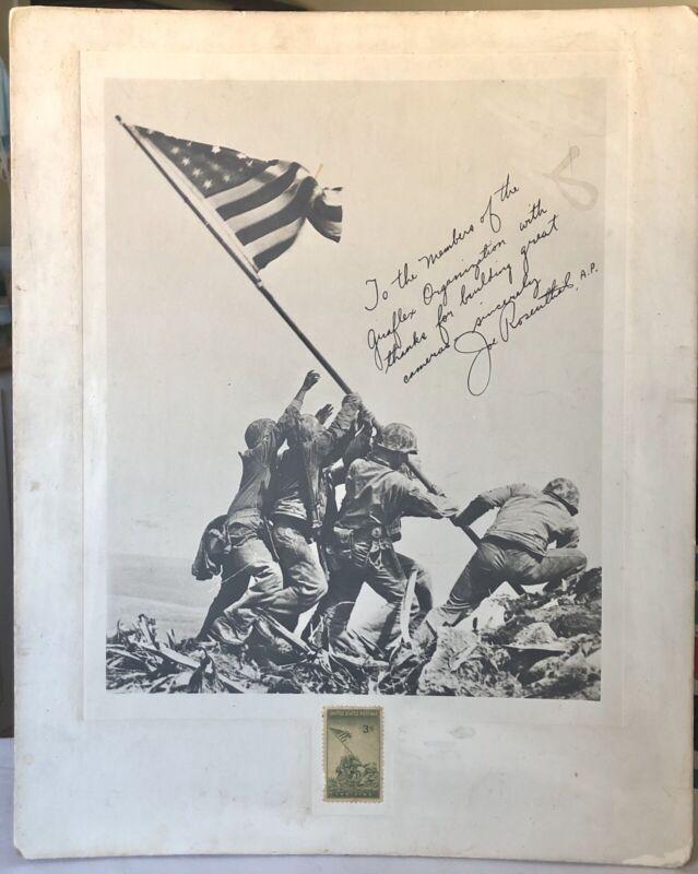 RARE IWO JIMA JOE ROSENTHAL SIGNED PHOTOGRAPH ~ 3 CENTS STAMP WWll 1945