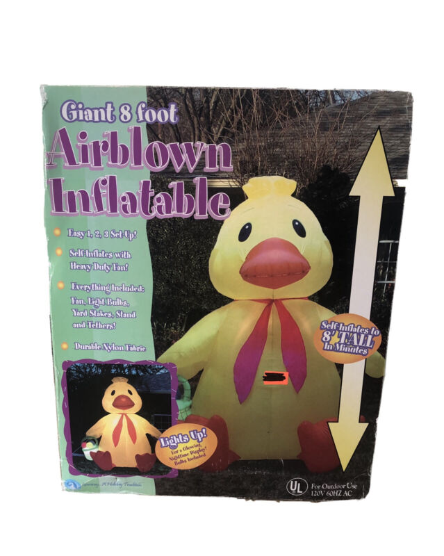 RARE Gemmy 8' Lighted Easter Duck Holding Basket Airblown Inflatable Blow-up