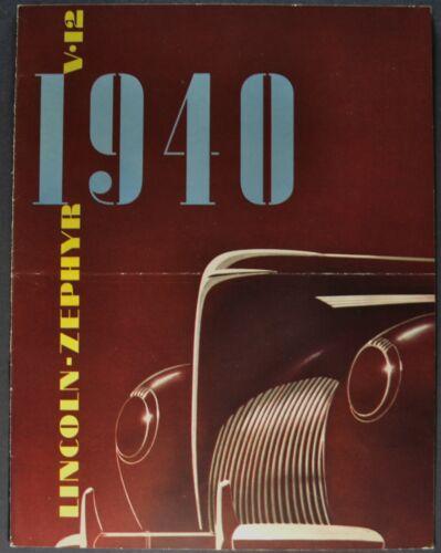 1940 Lincoln Zephyr & Continental Brochure Convertible Sedan Coupe Nice Original