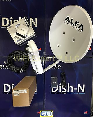 WiFi DISH N 22dBi + ALFA R36 + N2S PoE Cat5e Outdoor Booster GET FREE INTERNET