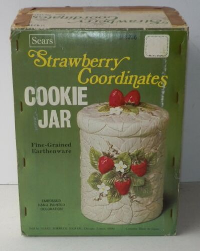 Vintage Sears Strawberry Coordinates Cookie Jar Earthenware Never Used