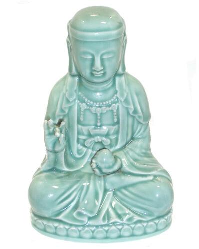 "Vintage Porcelain Celadon Sitting Buddha, Korea 1993, 8"" High"