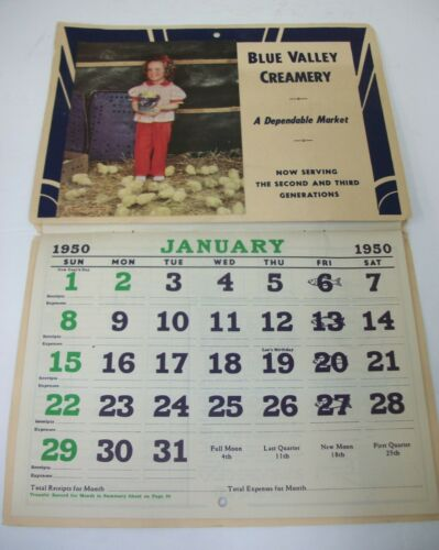 Vintage Blue Valley Creamery 1950 Advertising Wall Calendar