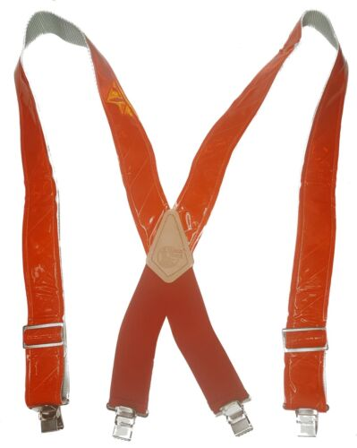 """Safety Red Reflective American Made Custom 2"""" Wide Suspenders Metal Clips"""