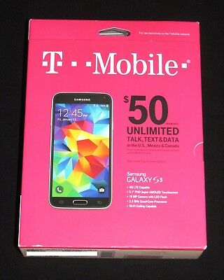 Brand New Sealed T-Mobile Samsung Galaxy S5 Prepaid 16GB 4G LTE Smartphone-Black for sale  Dayton
