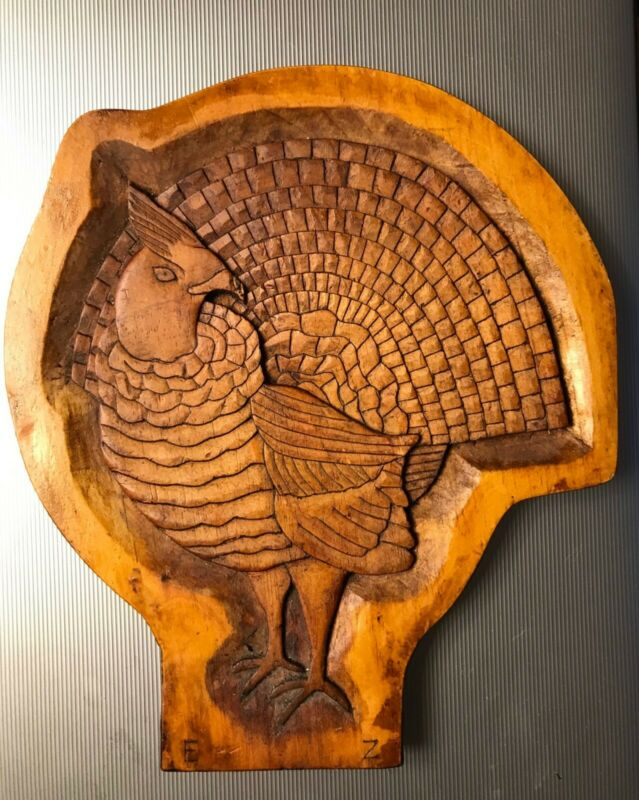 vintage hand carved folk art turkey wall plaque artist signed by EZ tramp art