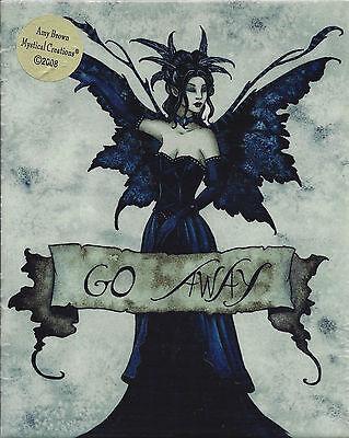 GO AWAY Amy Brown Fairy Ceramic Sensations Art Wall Tile Plaque faery faerie ()