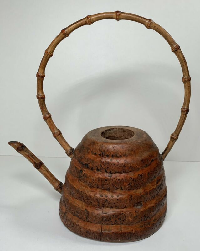 Unique ONE OF A KIND Wooden Beehive Teapot / Kettle Folk Art,  Missing Lid