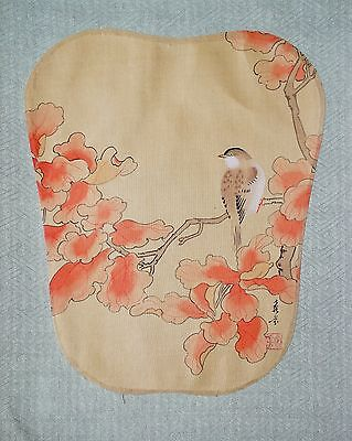 Vintage Asian Chinese Painting on Silk Fabric Flowers Bird Signed