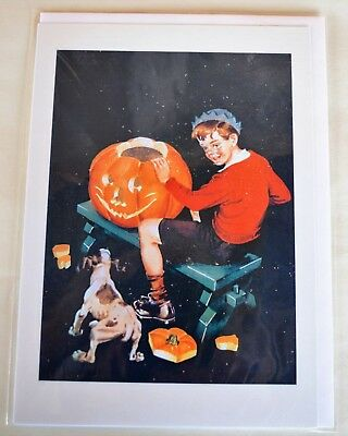 NEW Halloween Card by Flying Elephant Vintage Image Boy w Dog Carving - Elephant Halloween Pumpkin