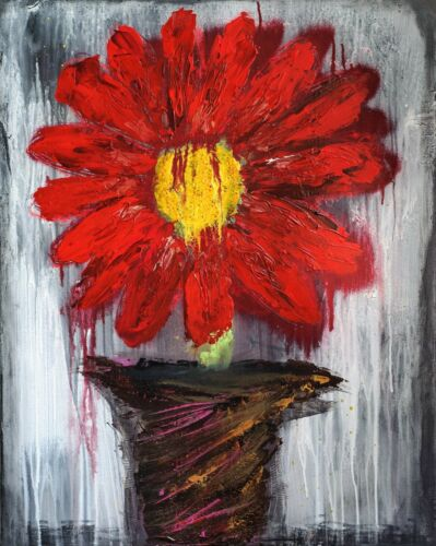ORIGINAL Art Red Painting Canvas Modern Abstract Decor Textured Flower Floral