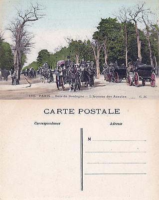 1920's HORSES & CARRIAGES BOIS DE BOULOGNE PARIS FRANCE UNUSED COLOUR POSTCARD