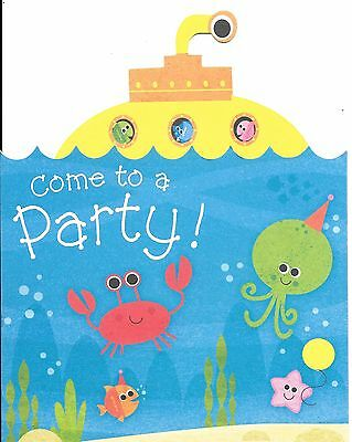 Yellow Submarine Ocean Beach Party Invitations - Set of 6