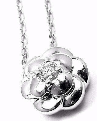 Authentic! Chanel 18k White Gold Diamond Camellia Camelia Pendant Necklace