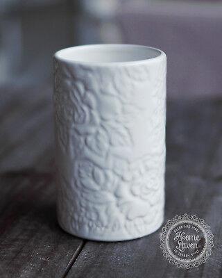 Zahnputzbecher 'Rose' Keramik weiß Bad Romantisch French Vintage Shabby