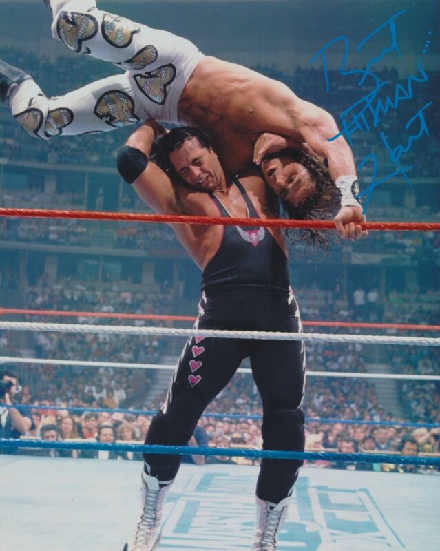 BRET THE HITMAN HART SIGNED WWE WWF 8X10 PHOTO 12