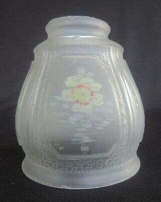 """Vintage Reverse Hand Painted Frosted Glass Lamp Shade w/ 2 1/4"""" Fitter SH532"""