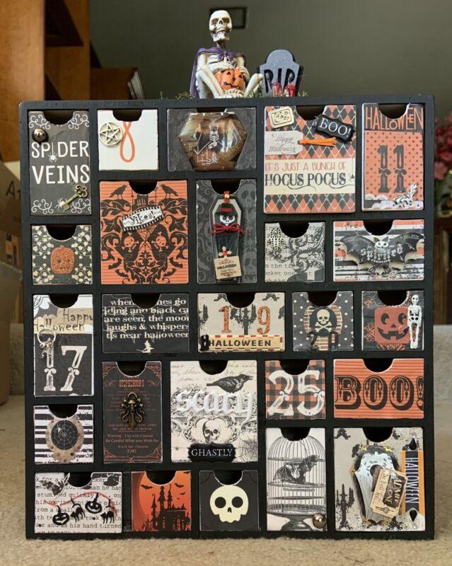 "New Custom Made Wooden Halloween 3D Advent/Countdown Calendar,12""x11""x2"" Drawers"