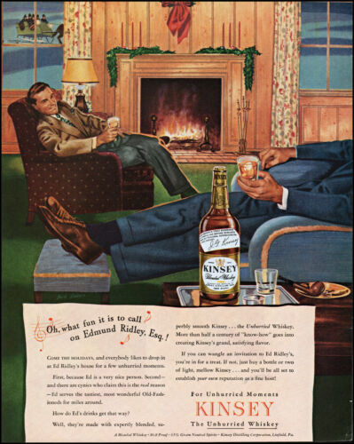 1944 Men fireplace sleigh ride Kinsey whiskey vintage art photo print ad L81
