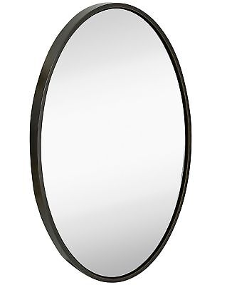 Clean Large Modern Wenge Oval Frame Wall Mirror | Contemporary Premium Silver...