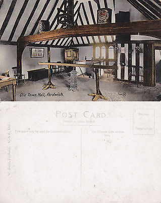 1920's OLD TOWN HALL FORDWICH Nr CANTERBURY KENT UNUSED COLOUR POSTCARD