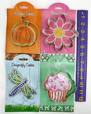 Cookie Cutter 4 Piece Set Pumpkin Flower Dragonfly Cupcake Ann Clark Recipe NEW