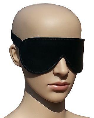Bondage Leder Augenbinde Augenmaske schwarz gepolstert mit Gummizug