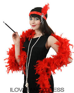 LADIES FLAPPER FANCY DRESS SETS HEADBAND FEATHER BOA PEARL NECKLACE CIG HOLDER