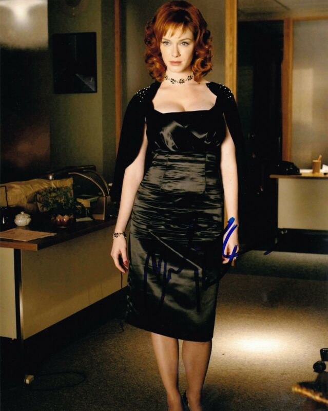 CHRISTINA HENDRICKS SIGNED 8X10 PHOTO AUTOGRAPH MAD MEN COA E
