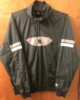 Vintage Style Starter Jacket Half Zip Michigan State University Medium