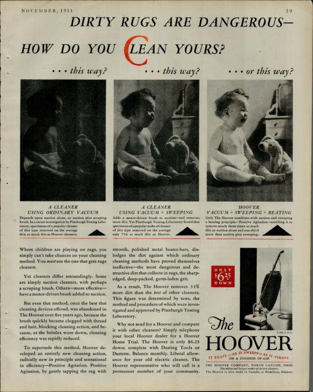 1931 Hoover Vacumm Baby On Floor Crying Stuffed Animal Vintage Print Ad 2946