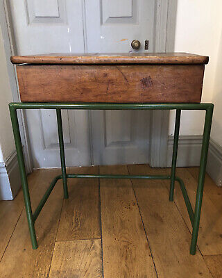 Child's Vintage Wood Desk With Inkwell