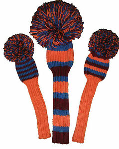 Knitted Golf Club Head Covers in AFL / NRL Team Colours TO ORDER Driver plus 2