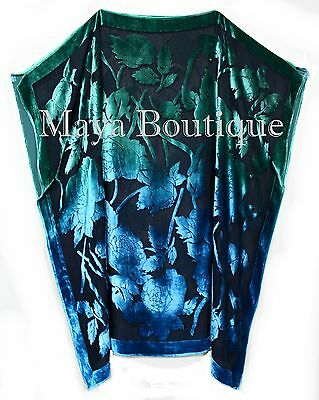 Caftan Dress Kimono Silk Burnout Velvet MAYA Dyed Stained Glass Blue & Greens