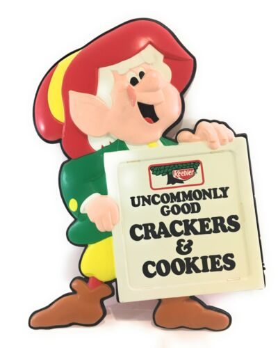 RARE Vintage Large KEEBLER Crackers & Cookies Molded Plastic Ernie The Elf Sign