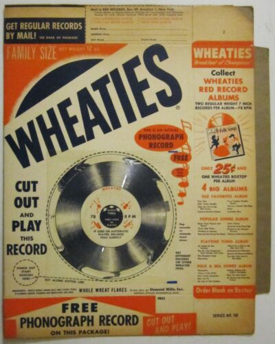 Vintage 1950s Wheaties Cereal Box With 78rpm Children