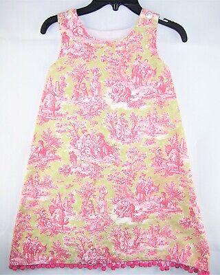 Girls green pink toile boutique jumper dress 6 pom pom summer Christmas vintage