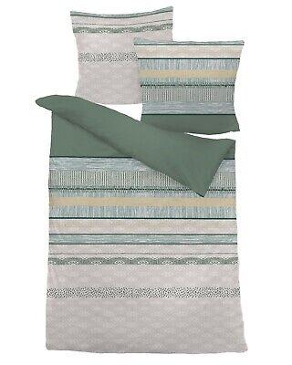 Dormisette Biber Bettwäsche kiesel grün 80x80+135x200cm #7644