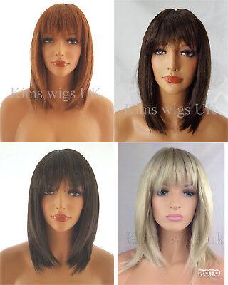 LADIES WIG SHOULDER LENGTH RAZOR CUT WIG BLONDE BROWN BLACK GINGER MIX UK - Ginger Wig