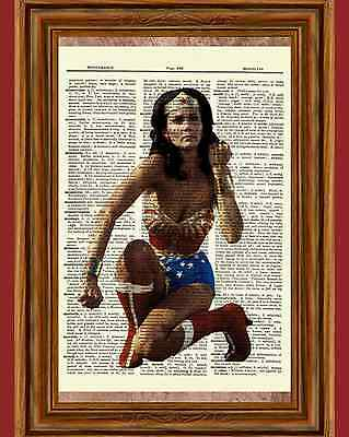 Wonder Woman Comic - Wonder Woman Lynda Carter Dictionary Art Poster Picture Comic Vintage Book Movie