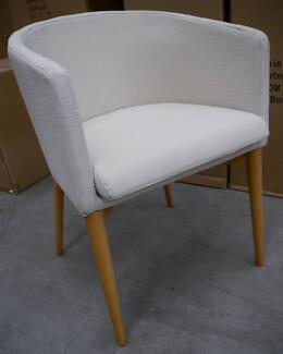 New Danish Scandi Cream Natural Timber Kendall Tub Arm Chairs