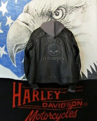 Harley 3-1 Willie G Reflective Skull Leather Jacket Wmn 2W 98152-09VW Xlent Cond