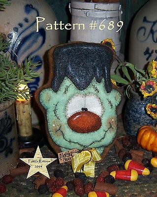 Patti's Ratties Prim Halloween Frankenstein Monster Cookie Paper Pattern #689](Halloween Frankenstein Cookies)