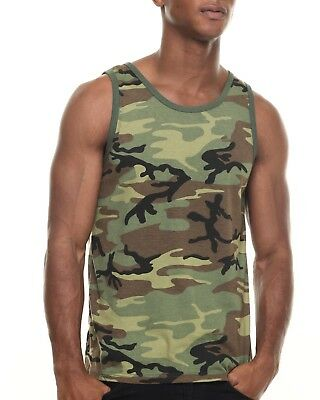 (Rothco 6702 Woodland Camo Camouflage Army Military Tank Top T-Shirt New)