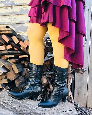 Black Steampunk Saloon Girl Old West Civil War Gone with the Wind Costume Boots