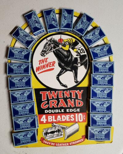 Vintage Mint Store Display Twenty Grand Razor Blades Horse Racing