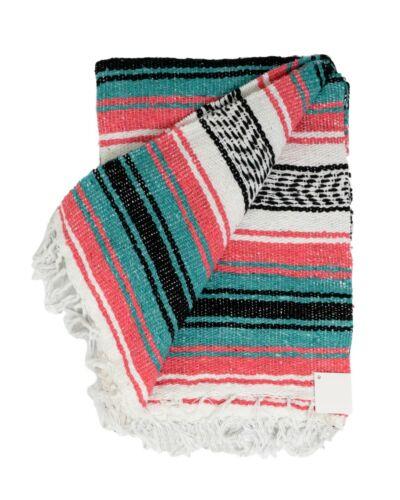 Coral Pink Teal Green Mexican Blanket Serape Throw Mexican Yoga Falsa Serape