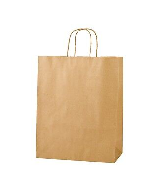 20 BROWN MEDIUM 25x31x11cm KRAFT PAPER CARRIER BAGS WITH TWISTED HANDLES