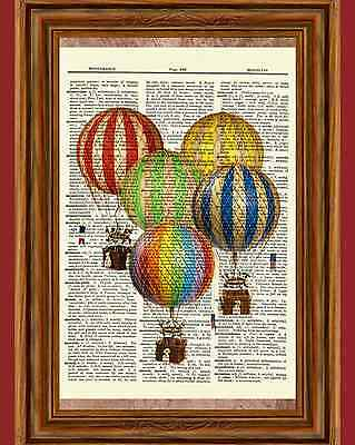Photo Print Balloons (Vintage Retro Hot Air Balloons Dictionary Curious Art Print Poster Picture)