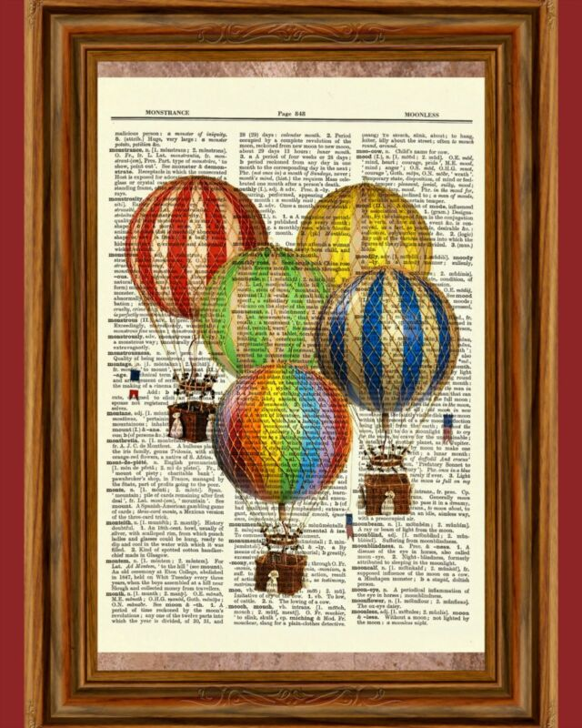 Vintage Retro Hot Air Balloons Dictionary Curious Art Print Poster Picture OOAK